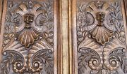 """Pair Of Large Antique Solid Oak Carved Wood Panels Carvings Framed 1890 25""""x12.5"""