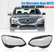 For Mercedes-benz E W212 2014-2015 Headlight Lamps Clear Lens Covers Shell Pair