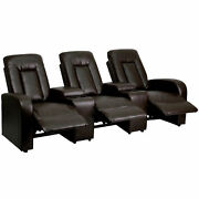 Eclipse Series 3-seat Brown Leather Theater Seating Unit With Cup Holders
