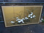 Old Or Antique Japanese Folding Screen Painting On Silk Floral