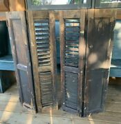 Antique Vintage Victorian Small Pair House Window Louvered Black Shutters