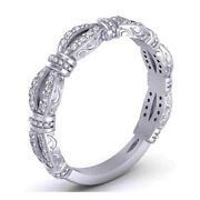 Excellent Cut 0.48 Ct Natural Diamond Anniversary Band 14k White Gold Size 7 6 5