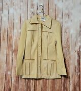 Vintage 60s 70s Di Costa Hong Kong Leather Suede Mod Button Jacket 8 Tan