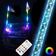 Maiker 3ft Dancing Led Whip Lights W/flag 360anddeg Twisted For Offroad Jeep Polar...