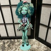 Monster High Doll Honey Swamp 2013 Blue Curly Afro Swap Monster Frights W/ Stand