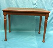 Antique Vintage Carved Solid Wood Cane Seat Vanity Bench Piano Stool