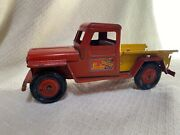 Vintage Pressed Steel Marx Willys Jeep Pickup Truck Service And Delivery Original
