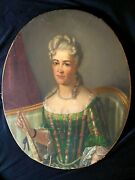 Antique Oil Painting From 1820-1850th Portrait Of Man In Woman Dress Very Rare