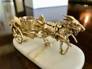 Andnbspantique French Palais Royal Gilt Brass Perfume Holder Goat Chariot Cart. 1800