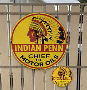 Large Vintage Porcelain 30andrdquo And 12andrdquo Indian Penn Motor Oils Gas And Oil Sign
