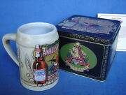 1991 Budweiser Anheuser Busch Bottled Beers Stein And Tin Box Collectible Bud Mug