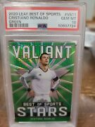 2020 Cristiano Ronaldo Green And039d/75 - Psa 10 💎 - Leaf Best Of Sports - Pop 1🔥