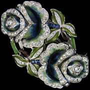 Coro Jewels Of Fantasy Invisibly Set Sapphires Double Roses Pin Clip Duette