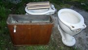 Antique Toilet With Wooden Wall Tank. 2 Toilet Bowls, One Tank No Lid