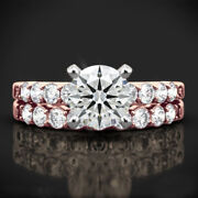 1.10 Ct Real Diamond Solid 14k Rose Gold Anniversary Ring Band Set Sizes 6 7 8 9