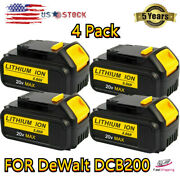 4 Pack 5000mah For Dewalt Dcb200 20v Lithium Ion Replacement Battery 5.0ah Drill