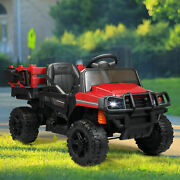 12v Kids Ride On Truck Remote Control Battery Powered Toy Tractor Trailer In Red