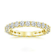 Classic 2.50 Ct Diamond Bridal Eternity Band Solid 14k Yellow Gold Size 4.5 5 6