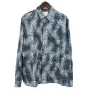 Dior And Shawn Stussy Technical Canvas Full Pattern Long Sleeve Shirt Blue System