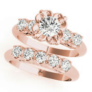 Sophisticated 1.40 Ct Real Diamond Engagement Band Set 14k Rose Gold 7 4.5 5 6