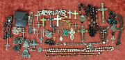 Collection Of 35 Rosaries And Crucifixes. Silver, Metal And Crystal. Xix-xx Cent