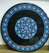 36 Inches Marble Meeting Table Top Inlay Art Dining Table With Turquoise Stone