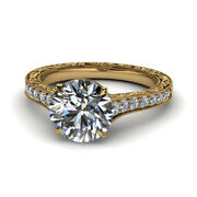 0.85 Ct Real Diamond 14k Solid Yellow Gold Bridal Engagement Ring Size 5 6 7 8 9