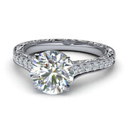 0.85 Ct Real Diamond 14k Solid White Gold Bridal Engagement Ring Sizes 5 6 7 8 9