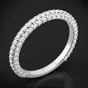 0.40 Ct Natural Diamond Solid 14k White Gold Wedding Anniversary Band Size 6 7 8