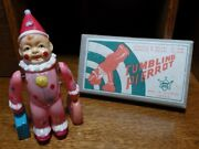 Mint 1940's Vintage Occupied Japan Tumbling Pierrot Celluloid Windup Toy W/box