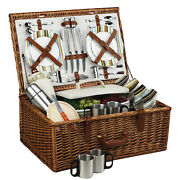 Picnic At Ascot Dorset Full Reed Willow Basket For 4 W/ Coffee Service 704c