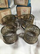 New Old Set 4 Russia Russian Ussr Vintage Silver Plate Filigree Cup Holds In Box