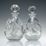 Pair Of Vintage Knobbly Glass Gin Decanters C1980