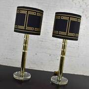 Modern Hollywood Regency Lucite And Brass Plate Lamps A Pair Style Karl Springer