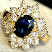 Royal Blue Sapphire Diamond 14k Yellow Gold Vintage Cluster Cocktail Ring 6.75