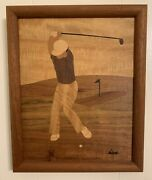 Hudson River Inlay Marquetry Golf Driver By Jeff Nelson Original Signed Wood Art