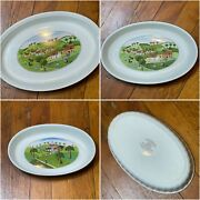 Set/3 Vintage Villeroy And Boch Luxembourg Naif Country Scene Oval Baking Dishes