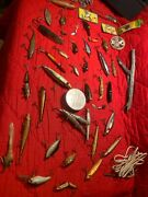Vintage Fishing Lure Lot Antique Old Fish Bait Collection Lures