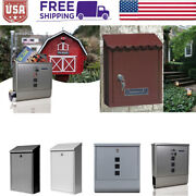 Durable Stainless Steel Mailbox Wall Mount Lockable Newspaper Letter Storage Box