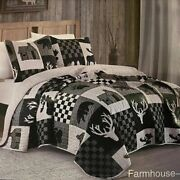 Farmhouse Grey Black Patch Bear Printed Full/queen Quilt Set Barn Country Rustic