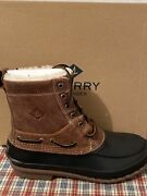 Sperry Mens Decoy Shearling Waterproof Duck Boots Size 8.5 Leather