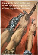 Original Vintage Wwii Poster Strong In The Strength Of The Lord World War 2 Usa