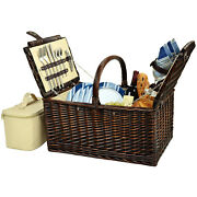 Picnic At Ascot Buckingham Handcrafted Willow Picnic Basket Equipped For 4 714