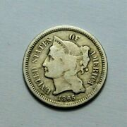 1865 Iii Us Three Cent Nickel Piece 3c Coin Rare Us Mint Uncertified Ungraded
