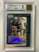 2001 Score Select Rookie Preview Drew Brees Bgs 8 Auto 9 Rp2 Rookie Rc /150