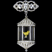 Anthony Sterling Unsigned Pave Diamante Canary In Jelly Belly Bird Cage Pin