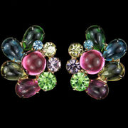Sandor Multicolour Pastel Cabochons And Crystals Flower Button Clip Earrings