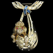 Trifari Paris In The Spring French Poodle Puppy Dog In Pendant Bowknot Scarf Pin