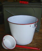 Antiquevtg. White And Red Enamel Ware Rustic Farmhouse Water Bail Bucket And Dipper