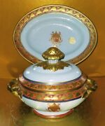 Mottahedeh Design Lidded Soup Tureen With Under Tray Lowestoft Reproduction
